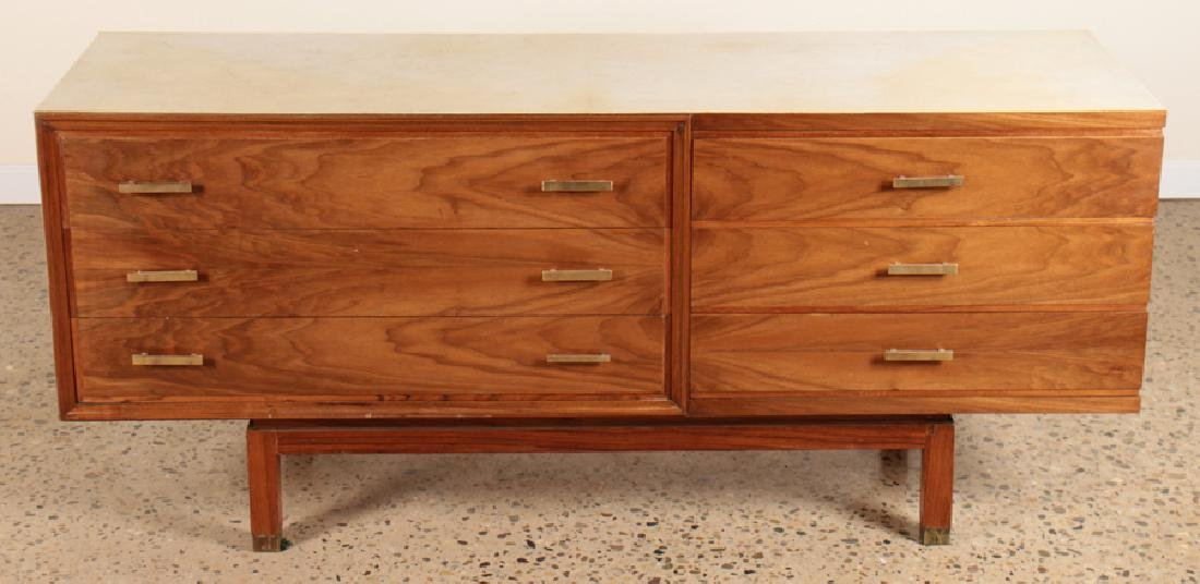 PARCHMENT TOP SIX DRAWER COMMODE CIRCA 1960