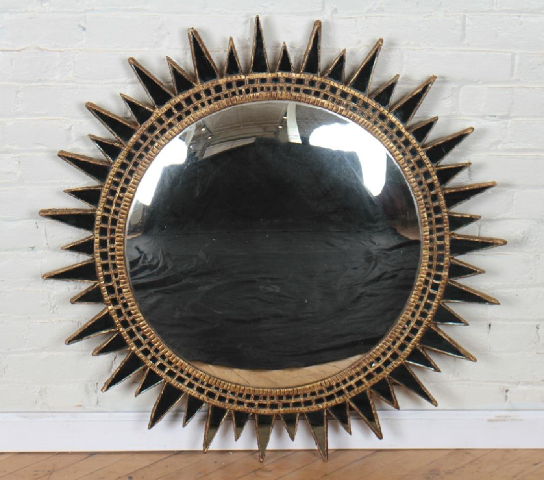 LARGE GILT RESIN GLASS CONVEX SUNBURST MIRROR