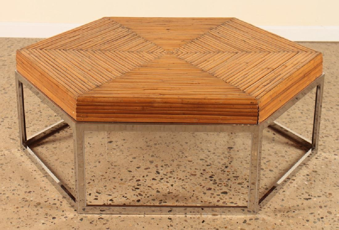 A MID CENTURY MODERN CHROME & RATTAN COFFE TABLE