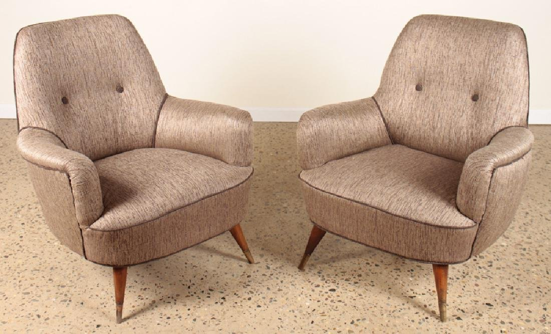 PAIR UPHOLSTERED CLUB CHAIRS MANNER OF GIO PONTI