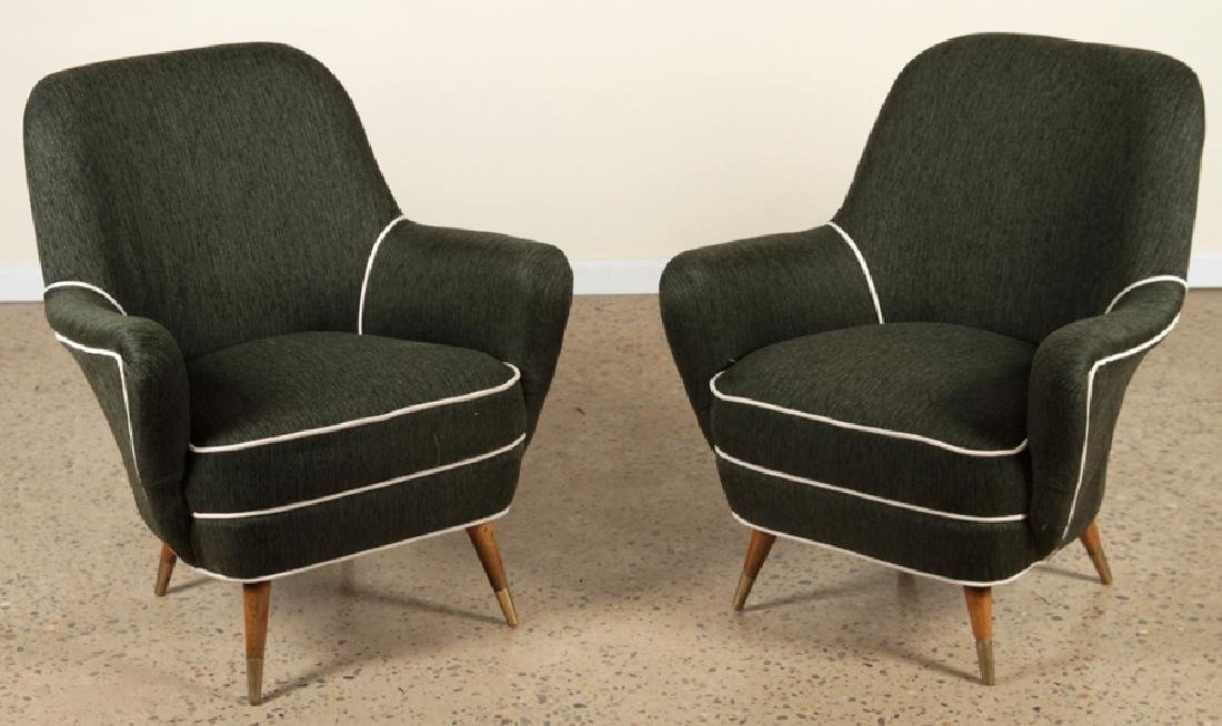 PAIR MID CENTURY MODERN UPHOLSTERED LOUNGE CHAIRS