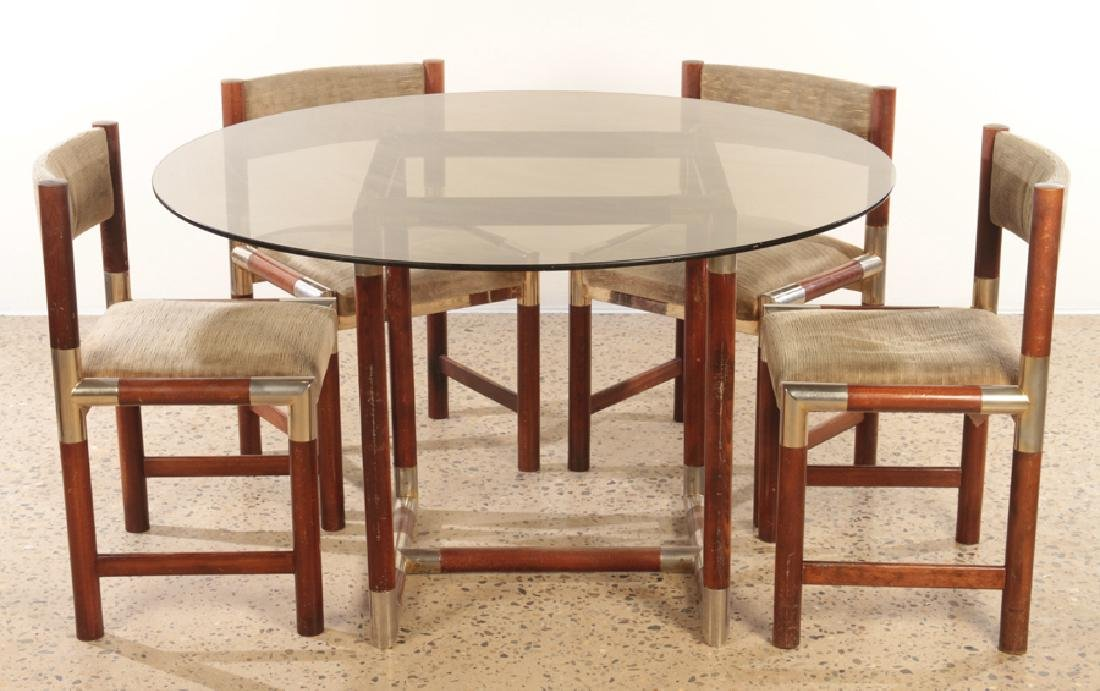FRENCH WOOD CHROME TABLE AND 4 CHAIRS C.1970