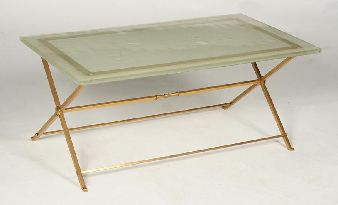 FRENCH BRONZE COFFEE TABLE GLASS TOP 1970