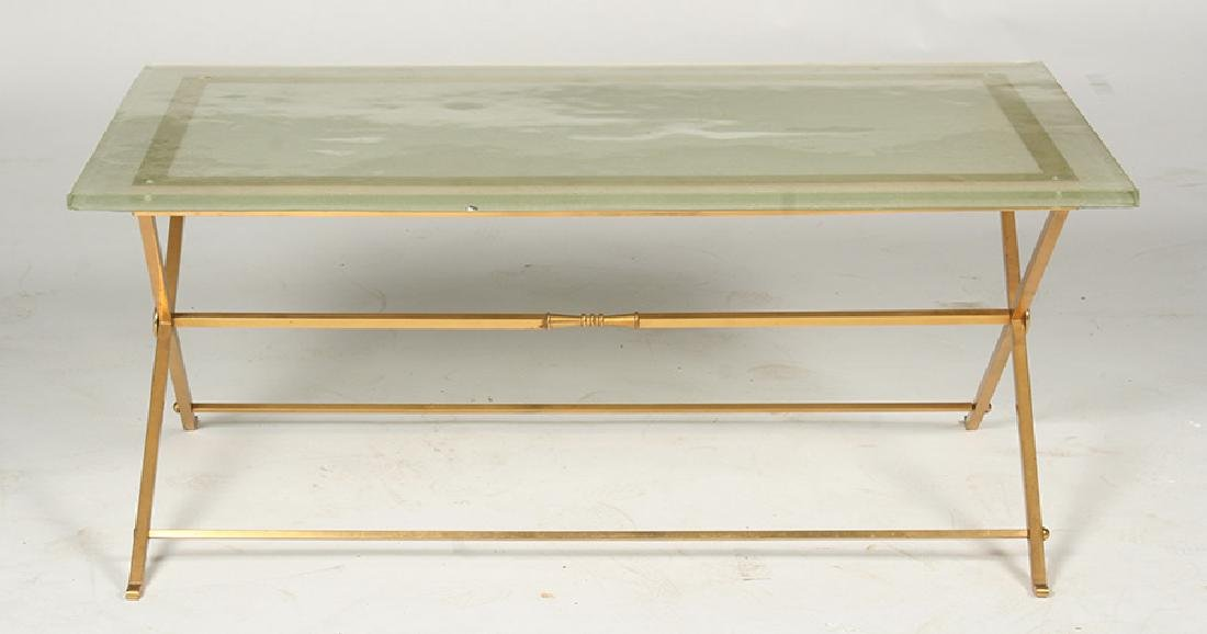 FRENCH BRONZE COFFEE TABLE GLASS TOP 1970 - 2