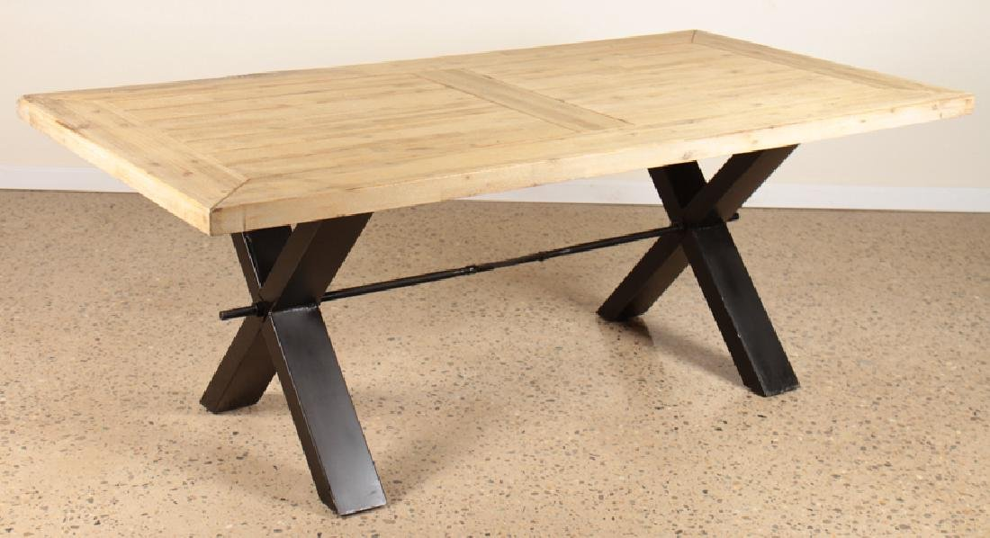 INDUSTRIAL METAL DINING TABLE WOOD PLANK TOP