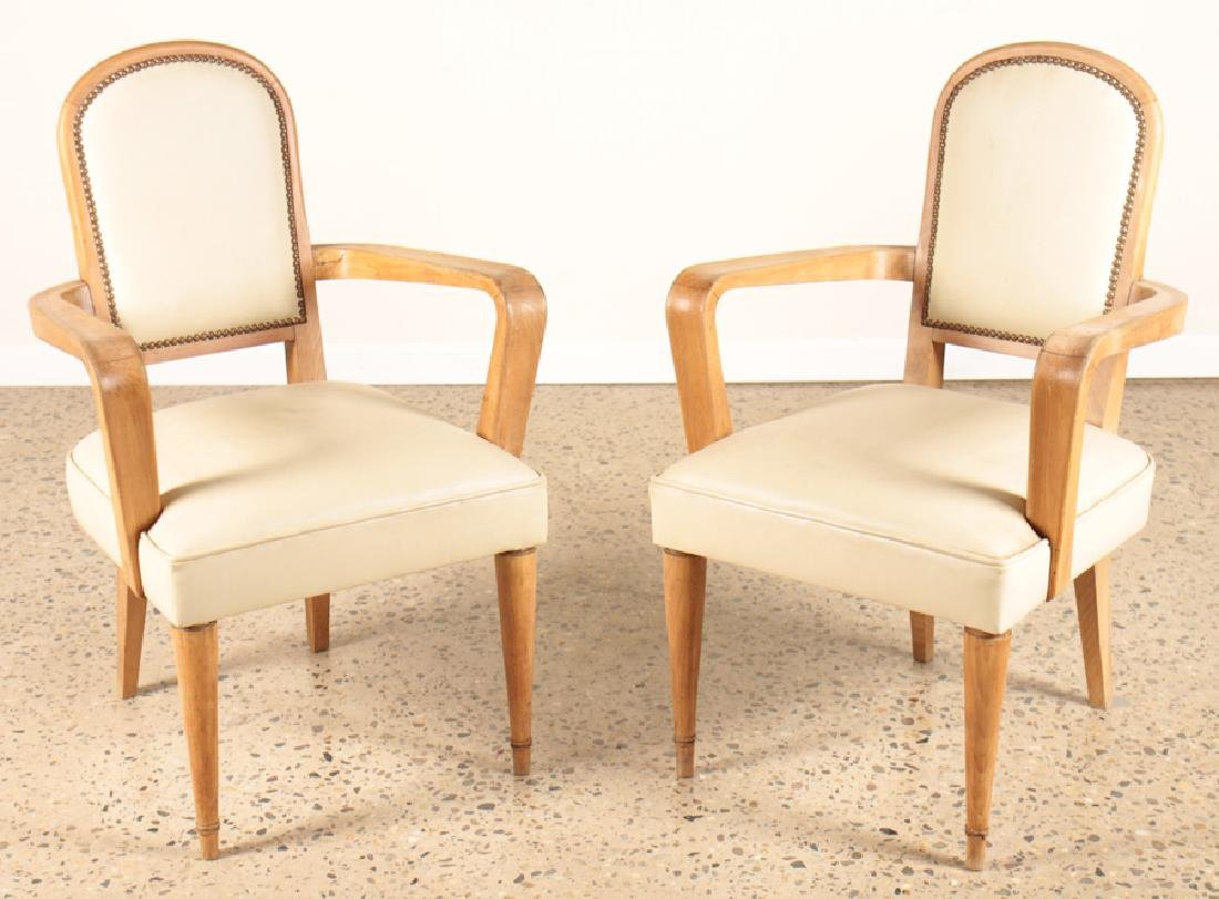 PAIR OF ANDRE ARBUS STYLE OPEN ARMS CHIARS C.1940