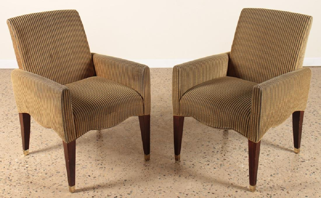 PAIR OLIVIER GAGNERE ROSEWOOD ARM CHAIRS