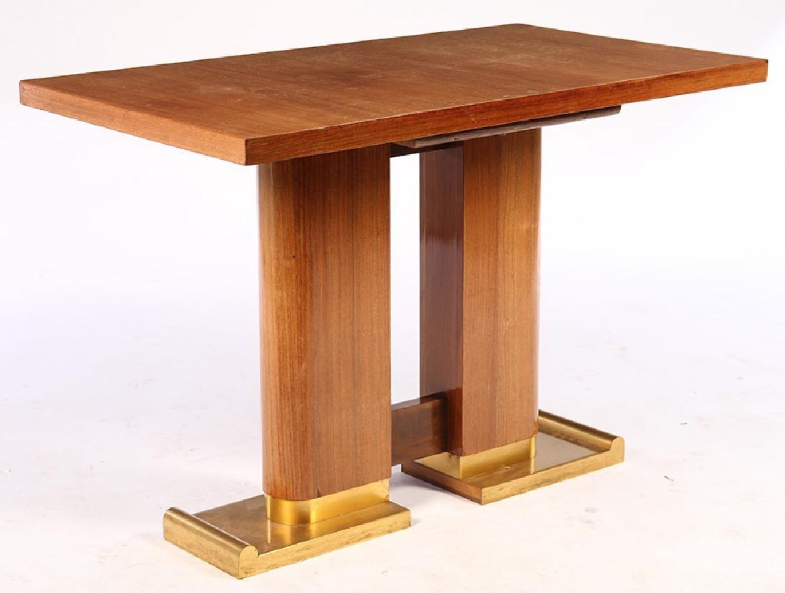 DECOENE FRERES CONSOLE TABLE DOUBLE PEDESTAL 1940