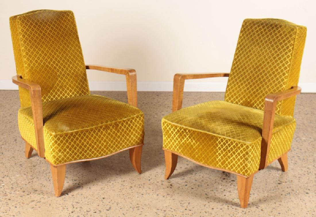 PAIR FRENCH OPEN ARM LOUNGE CHAIRS CIRCA 1940