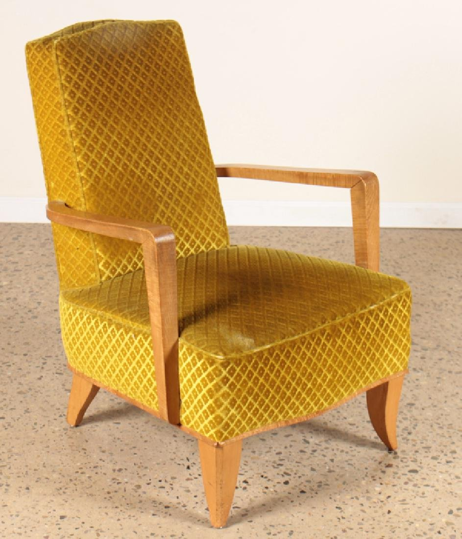 PAIR FRENCH OPEN ARM LOUNGE CHAIRS CIRCA 1940 - 2