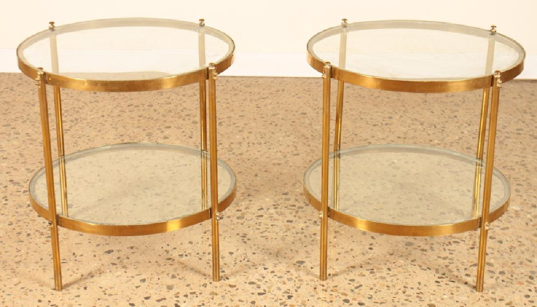 PAIR 2 TIER BRONZE GLASS CIRCULAR SIDE TABLES