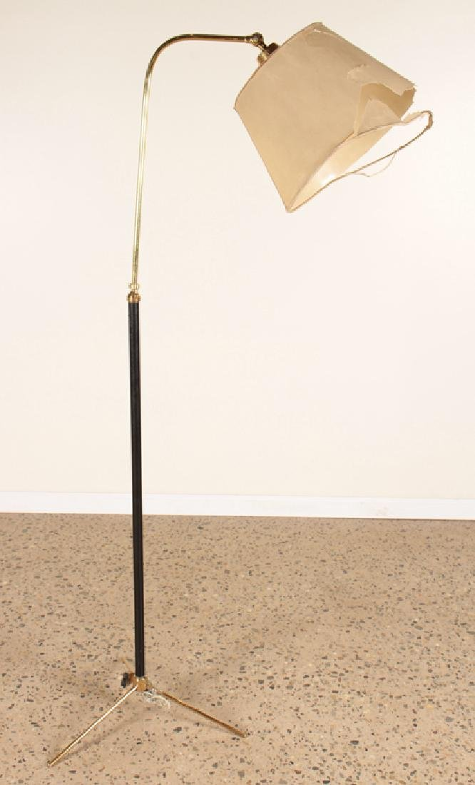 BRASS EBONIZED WOOD FRENCH FLOOR LAMP C.1960
