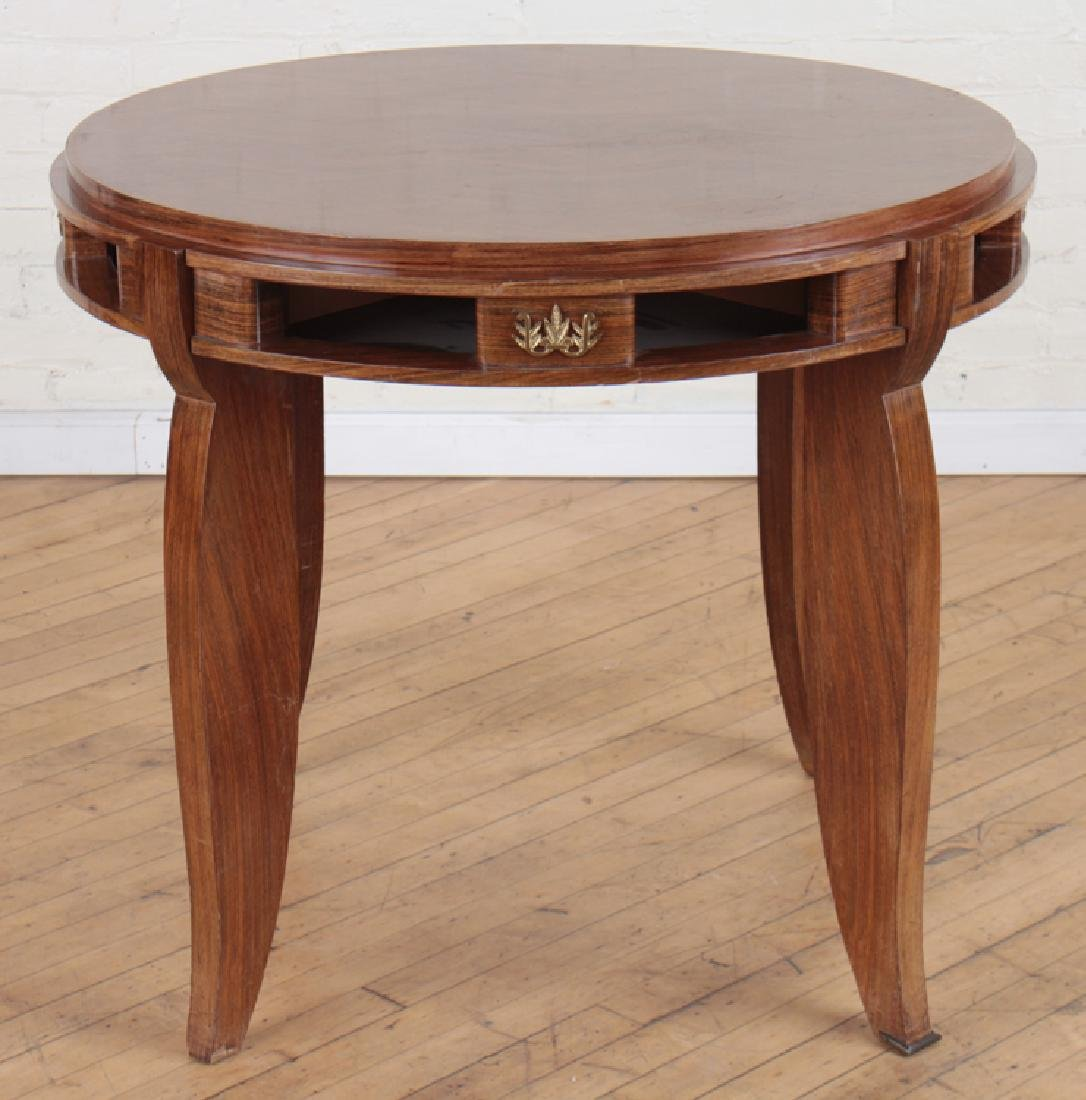 JULES LELEU STYLE MARQUETRY CENTER TABLE C.1950
