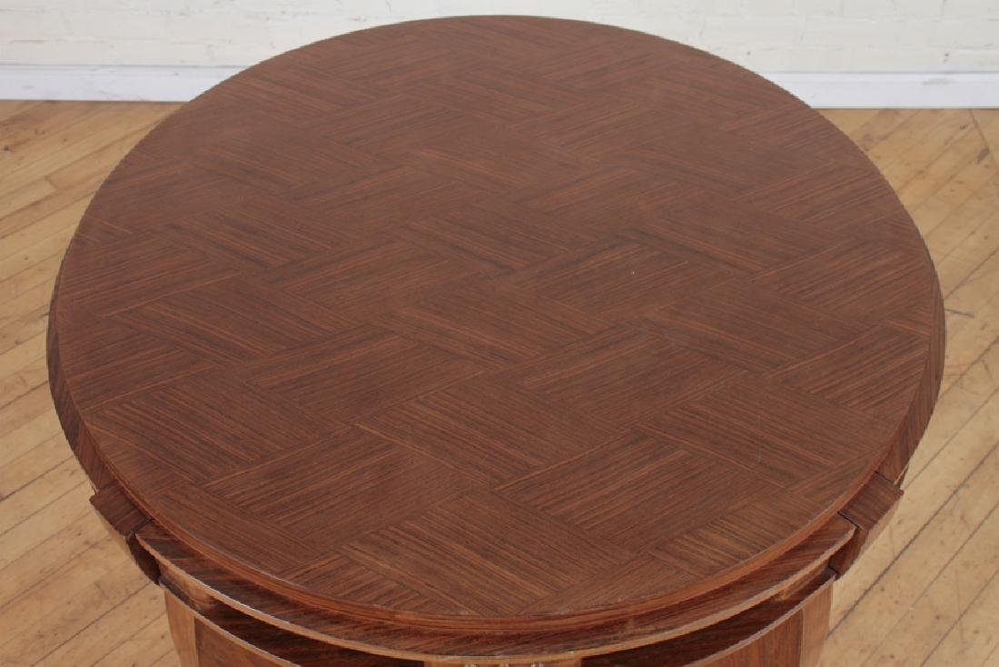 JULES LELEU STYLE MARQUETRY CENTER TABLE C.1950 - 2
