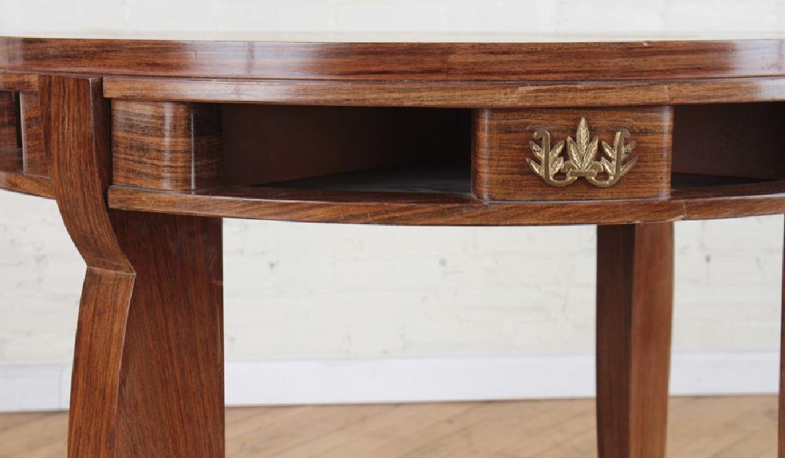 JULES LELEU STYLE MARQUETRY CENTER TABLE C.1950 - 3