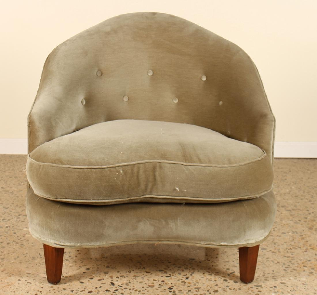 PAIR UPHOLSTERED FRENCH LIBRARY CHAIRS CIRCA 1940 - 3