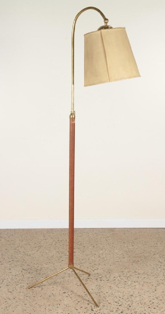 JAQUES ADNET STYLE BRONZE AND LEATHER FLOOR LAMP