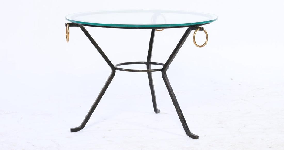 ROUND IRON BRONZE GLASS TOP OCCASIONAL TABLE 1950