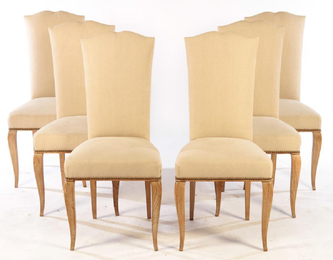 SET 6 FRENCH CERUSED OAK DINING CHAIRS C.1940