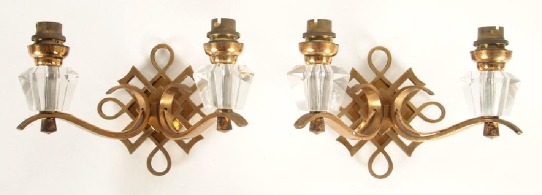 PAIR BRONZE CRYSTAL 2 ARM SCONCES BY JULES LELEU
