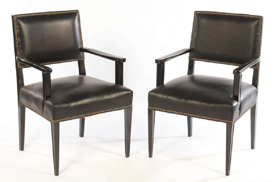 PR EBONIZED ARM CHAIRS JACQUES ADNET LEATHER 1940