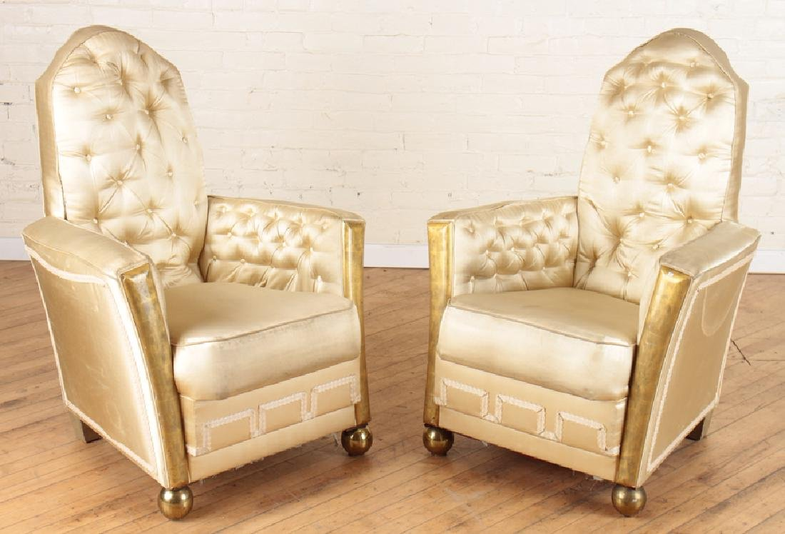 PAIR OF ART DECO UPHOLSTERED CLUB CHAIRS
