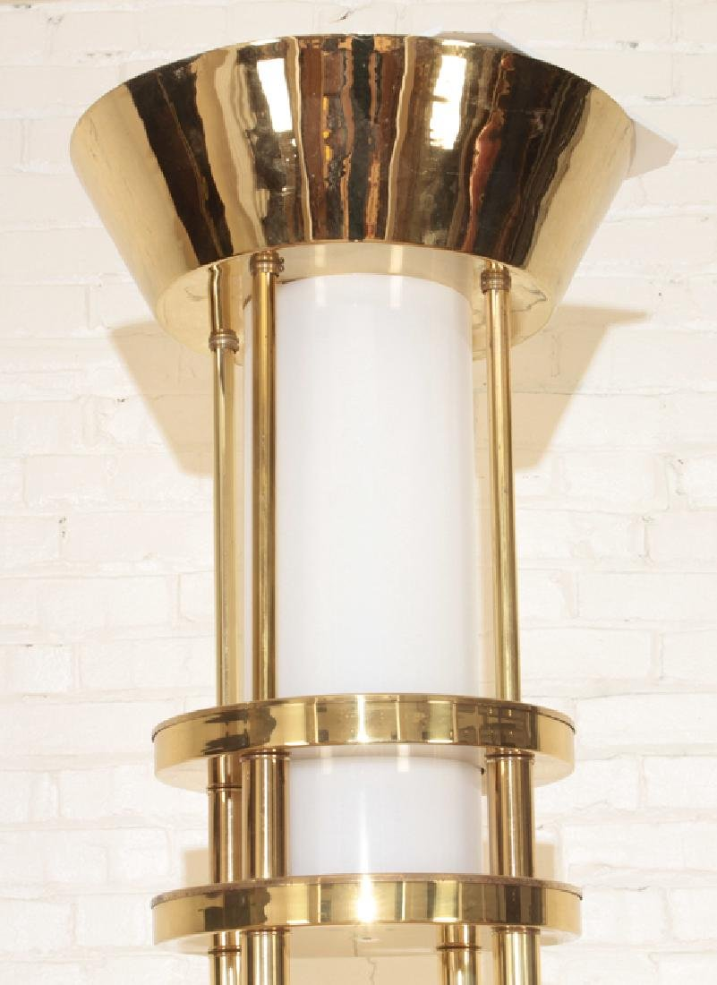 PAIR MONUMENTAL BRASS AND GLASS TORCHIERE LIGHTS - 3