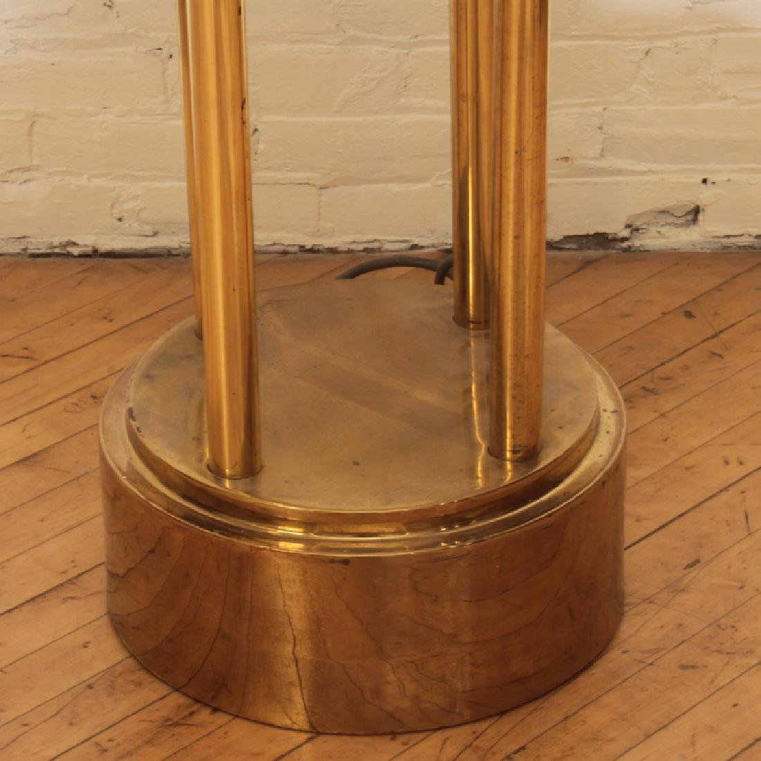 PAIR MONUMENTAL BRASS AND GLASS TORCHIERE LIGHTS - 4