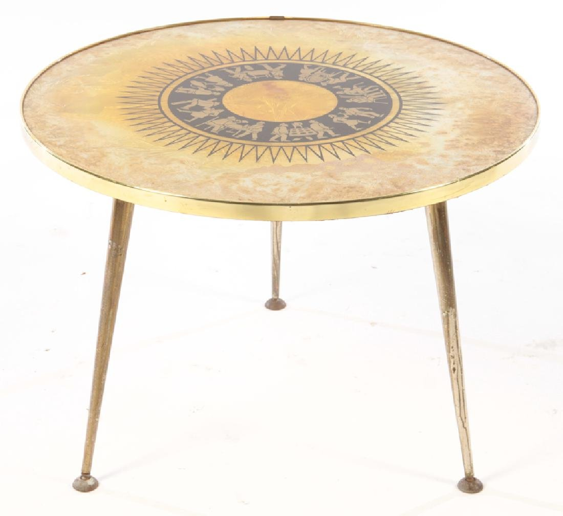 ROUND METAL OCCASIONAL TABLE EGLOMISE C.1960