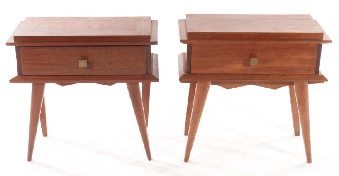 PAIR ITALIAN MAHOGANY END TABLES CIRCA 1960