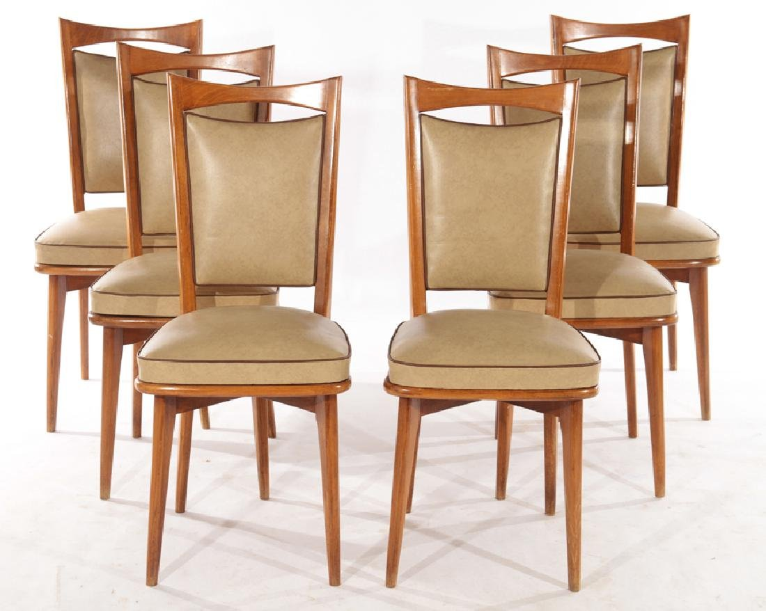 FRENCH DINING TABLE & SET OF 6 CHAIRS 1960 - 8