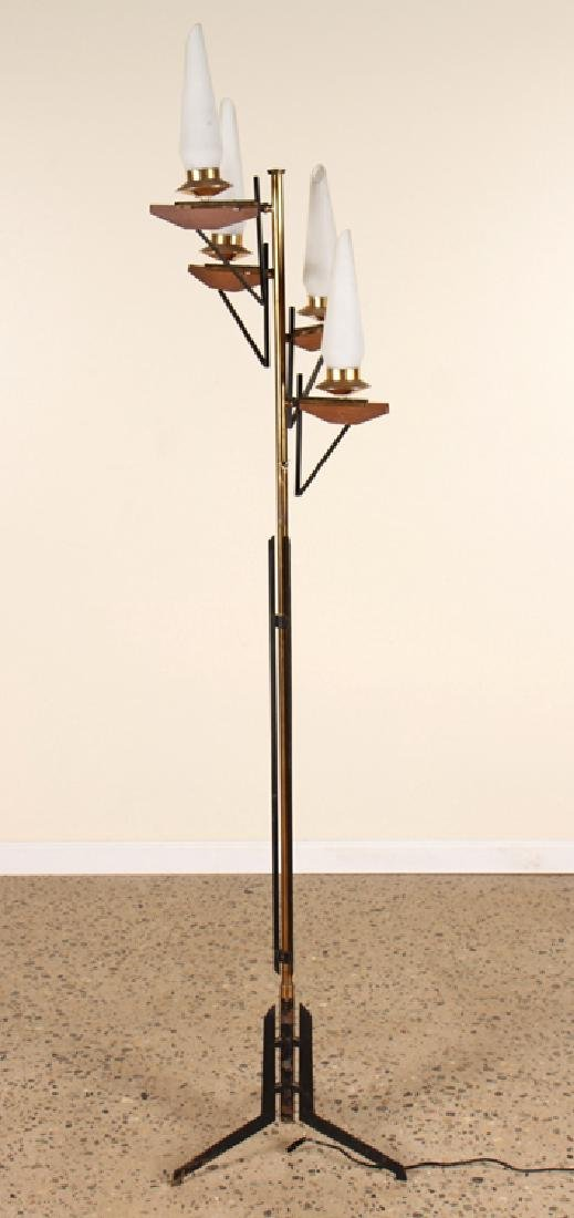 ITALIAN BRASS IRON WOOD FLOOR LAMP 1950