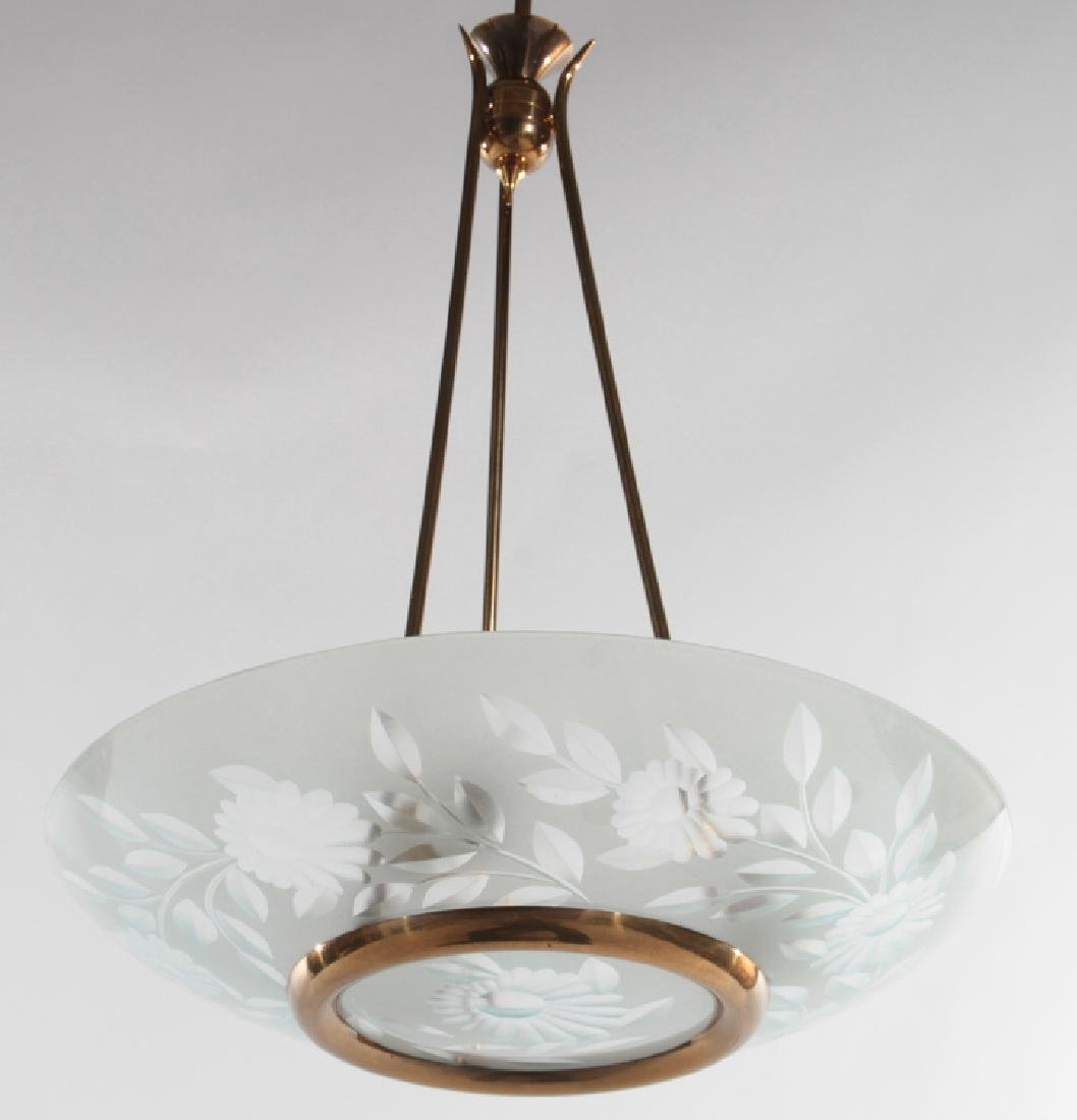 ITALIAN GLASS AND BRASS DOME CHANDELIER C.1950