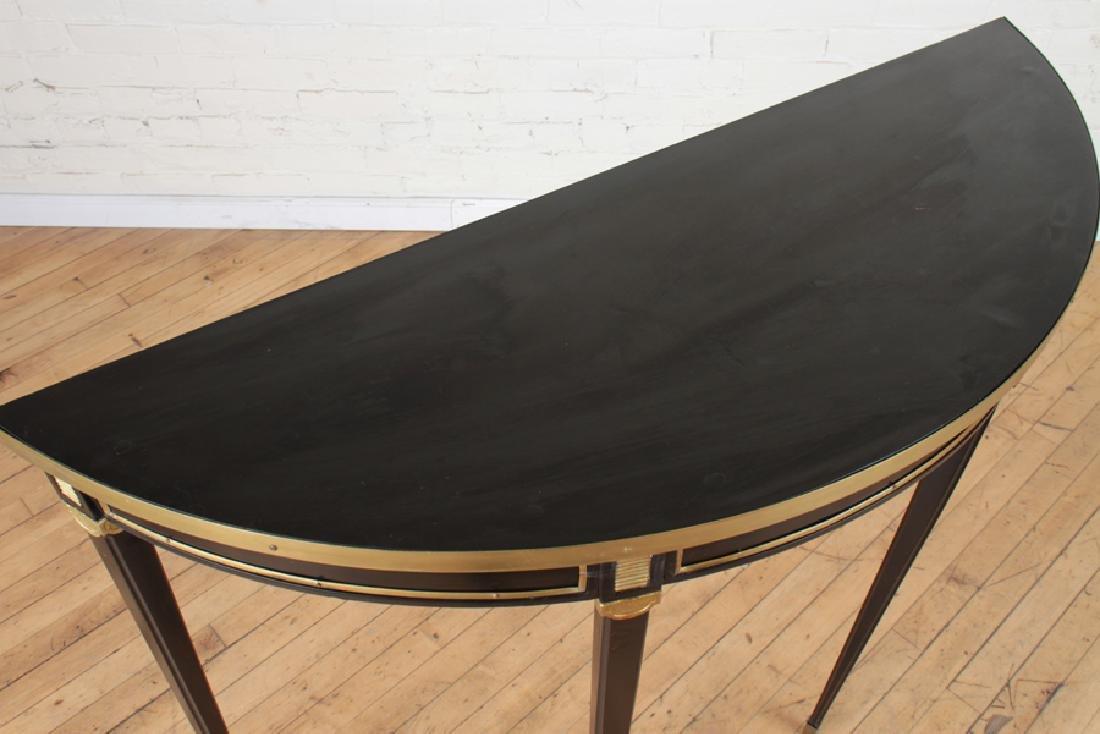 PAIR EBONIZED DEMILUNE CONSOLE TABLES - 4