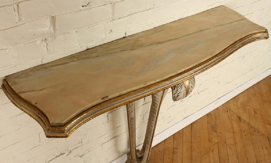 PAINTED JANSEN MARBLE TOP CONSOLE TABLE C.1940 - 3