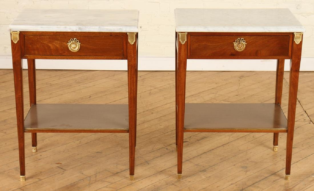 PAIR JANSEN MARBLE TOP MAHOGANY SIDE TABLES