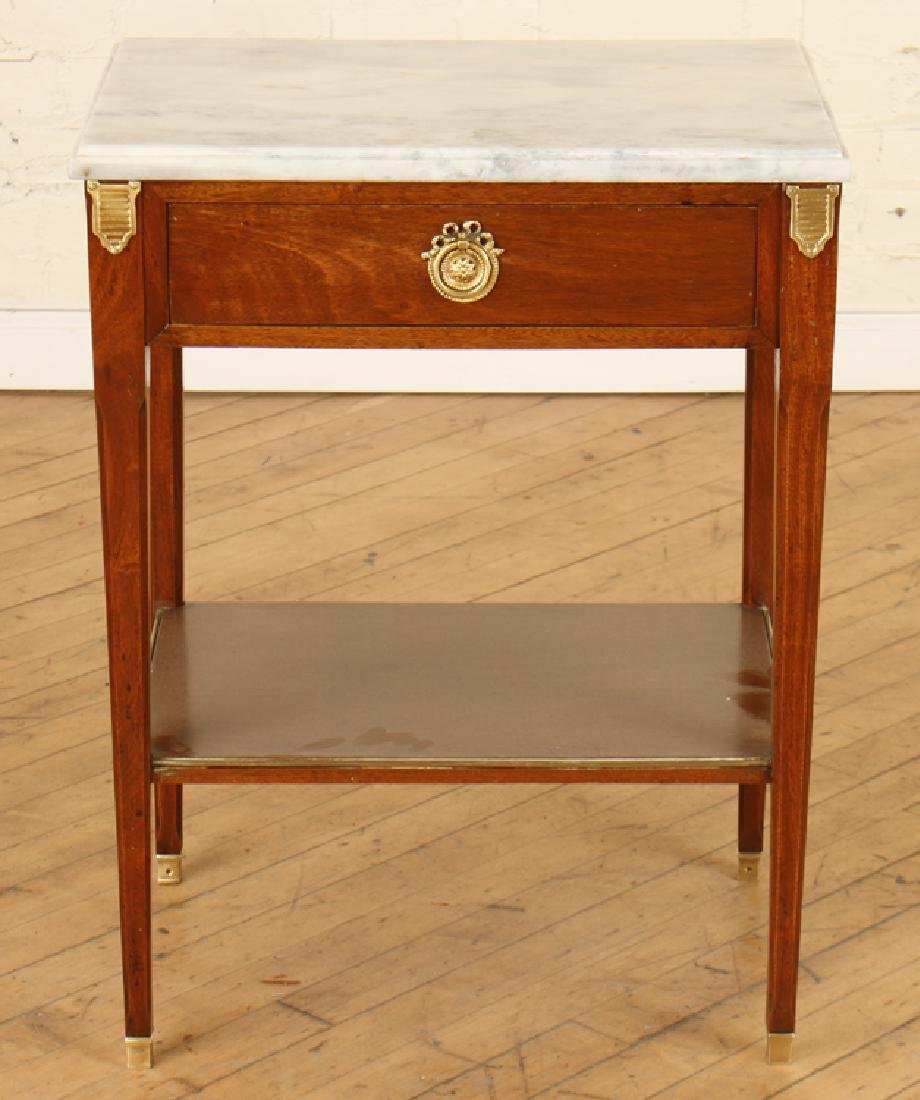 PAIR JANSEN MARBLE TOP MAHOGANY SIDE TABLES - 2