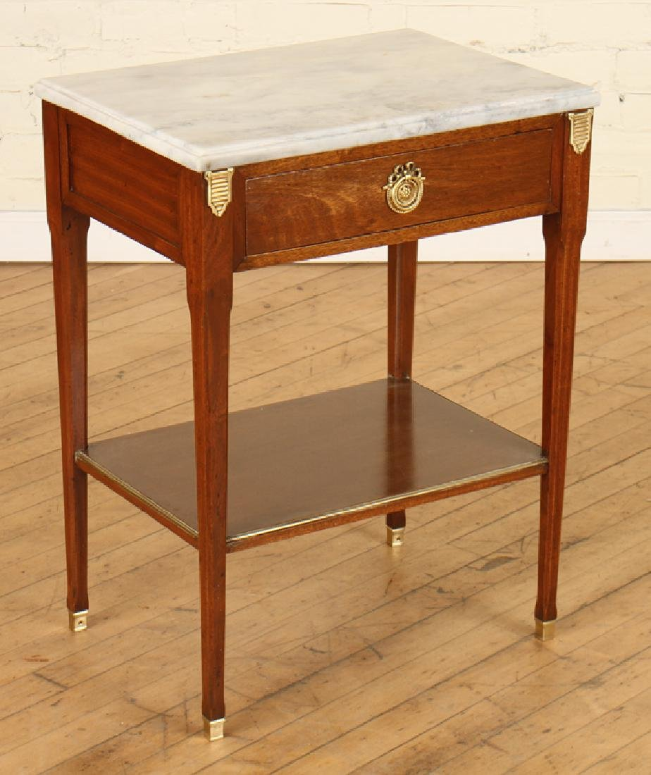 PAIR JANSEN MARBLE TOP MAHOGANY SIDE TABLES - 3