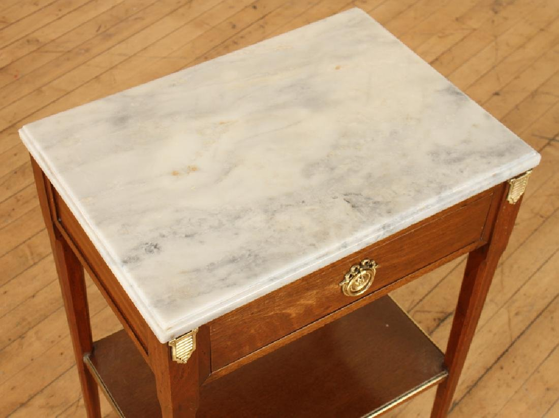 PAIR JANSEN MARBLE TOP MAHOGANY SIDE TABLES - 4