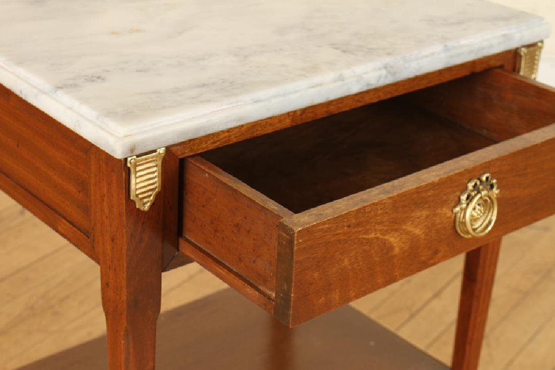 PAIR JANSEN MARBLE TOP MAHOGANY SIDE TABLES - 5