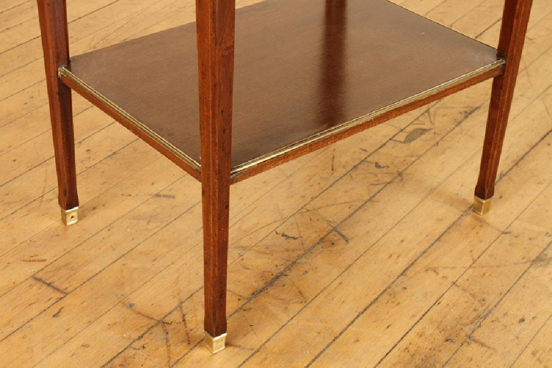 PAIR JANSEN MARBLE TOP MAHOGANY SIDE TABLES - 6