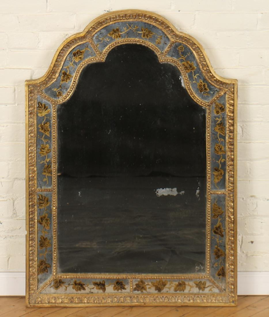 JANSEN CURVED CARVED GILT WOOD MIRROR
