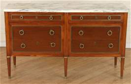 FRENCH JANSEN STYLE MARBLE TOP DOUBLE DRESSER