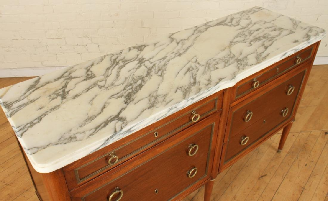 FRENCH JANSEN STYLE MARBLE TOP DOUBLE DRESSER - 3