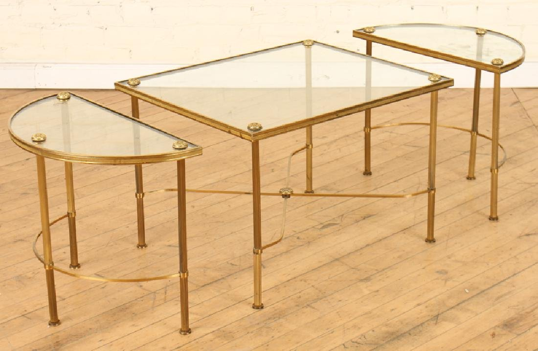 OVAL BRASS GLASS TOP COFFEE TABLE