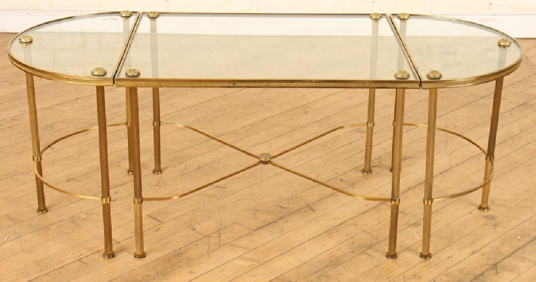 OVAL BRASS GLASS TOP COFFEE TABLE - 2