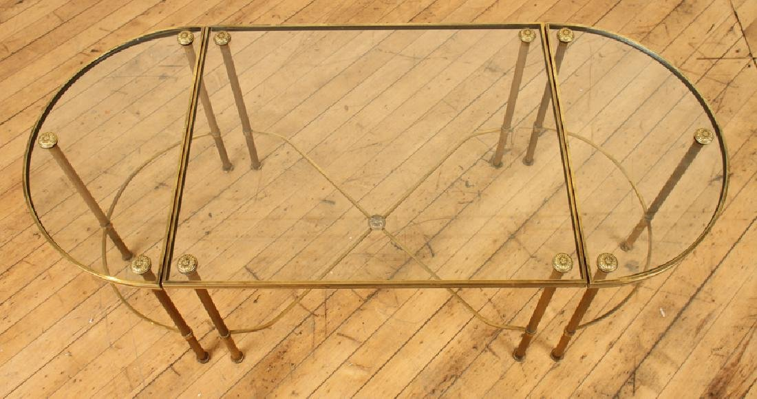 OVAL BRASS GLASS TOP COFFEE TABLE - 3