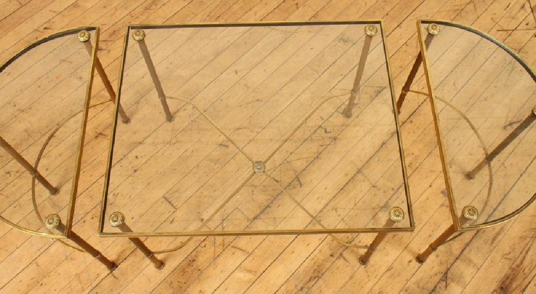 OVAL BRASS GLASS TOP COFFEE TABLE - 4
