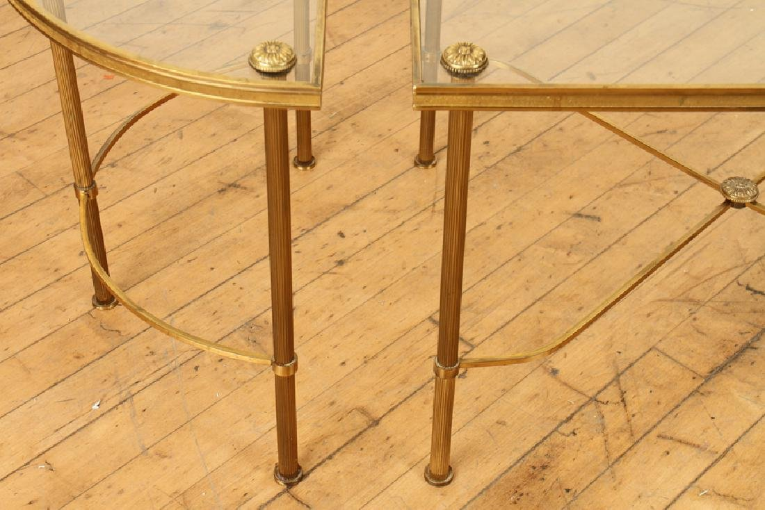 OVAL BRASS GLASS TOP COFFEE TABLE - 5