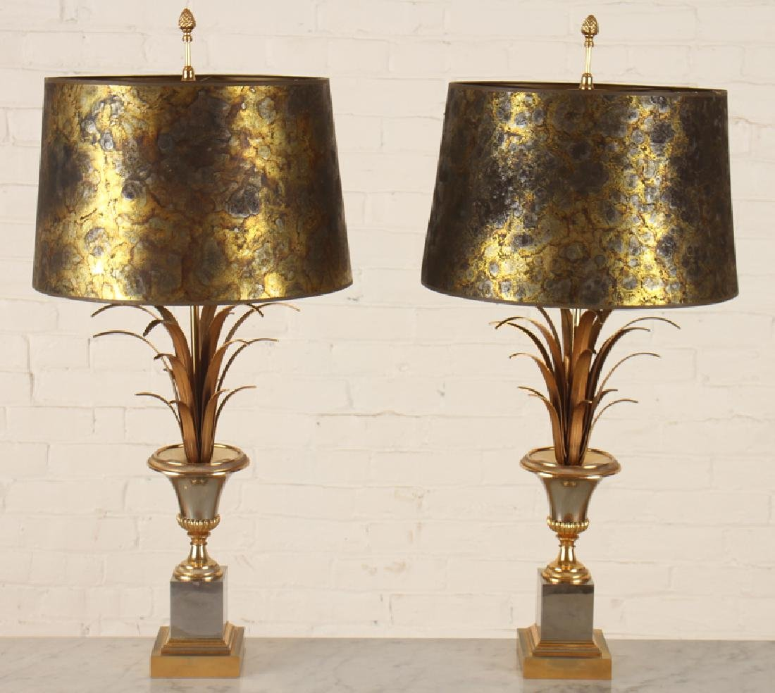 PAIR MAISON CHARLES BRASS URN FORM LAMPS C.1950